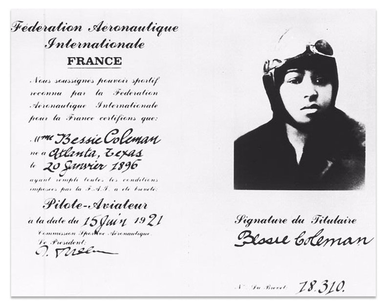Bessie Coleman Pilot License