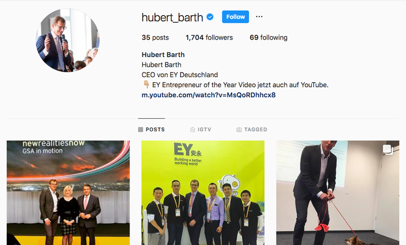 Hubert Barth Instagram Account