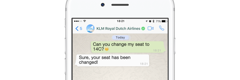 KLM is one of the early adopters of the new WhatsApp Business API