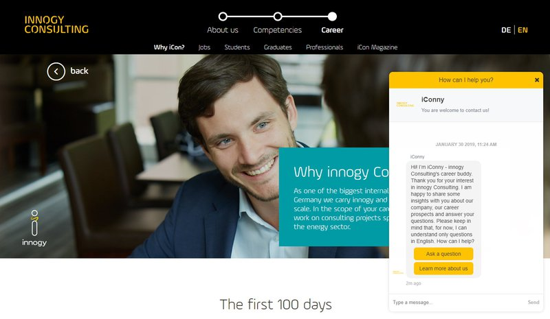 The iConny Chatbot on innogy Consulting's website